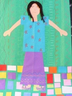 Kindergarten Selfportrait Girl With Multicultural Construction Paper