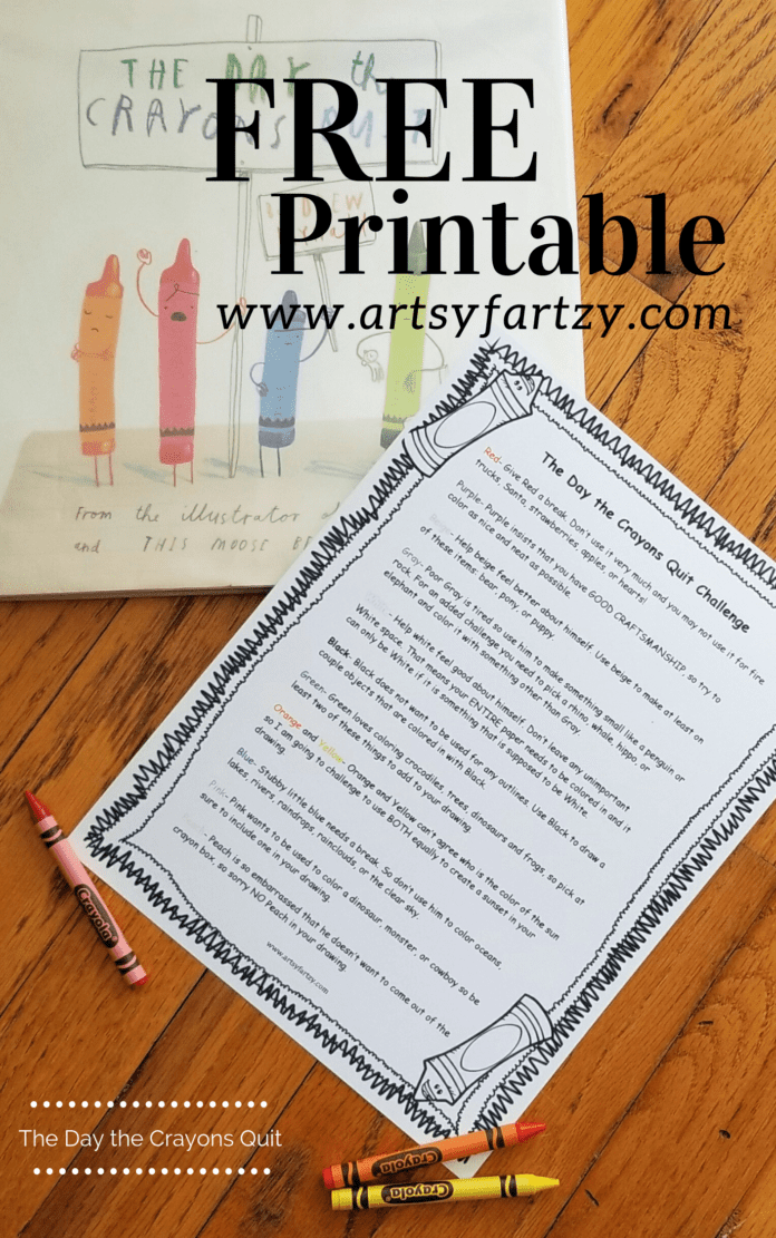 Free Printable for The Day the Crayons Quit Activities