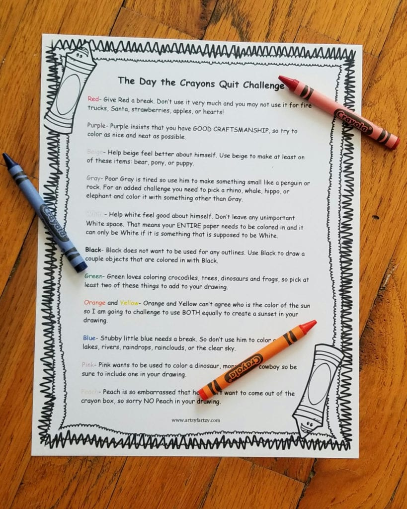 The Day the Crayons Quit Free Printable