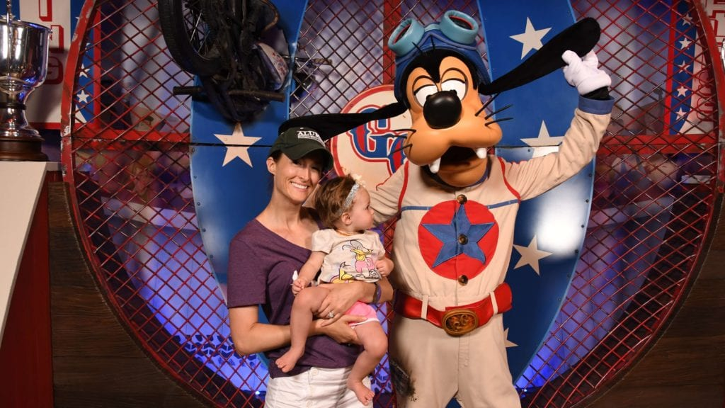 Baby checking out Goofy at the Meet and Greet in Storybook Circus area of Disney World Magic Kingdom