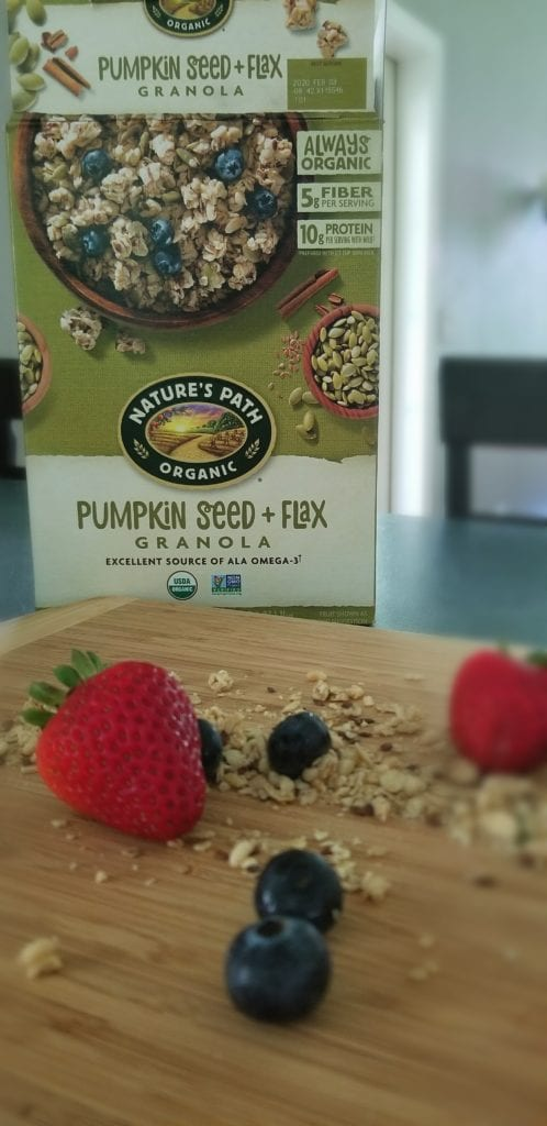 Organic breakfast for kids Nature's Path Organic Pumpkin Seed + Flax Granola and healthy breakfast for kids that is easy