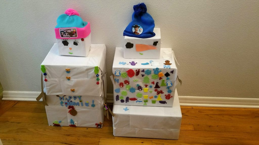 Christmas Snowman Present Tower Activity for Kids