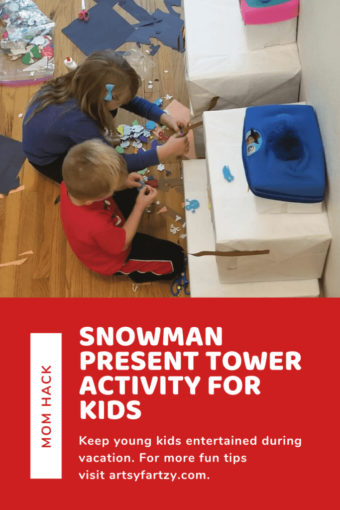 Snowman present tower activity for kids is a great mom hack to keep your young children entertained over break.